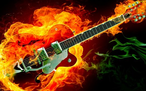Electric Rockabilly Guitar on Fire Red Green Smoke Flames HD Music Desktop Wallpaper 1920x1200 Great Guitar Sound www.GreatGuitarSound.jpg